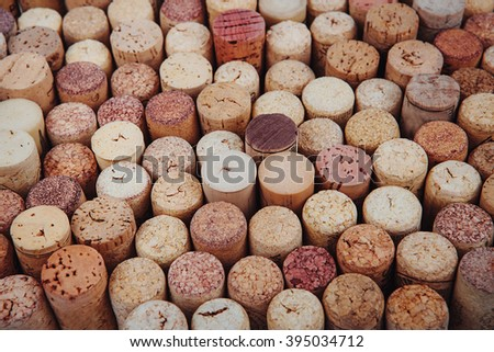 background texture with different wine corks. Wine corks