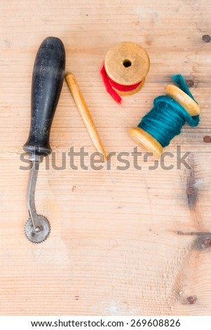 background used look sewing accessories  - stock photo