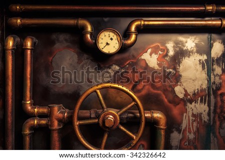 background vintage steampunk from steam pipes and pressure gauge - stock photo