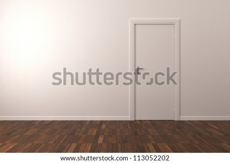 Background Wall - Room with Parquet floor - stock photo