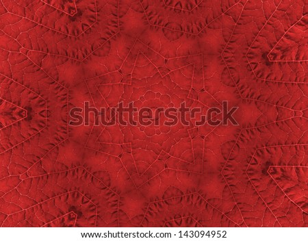 Background with abstract pattern from red leaf