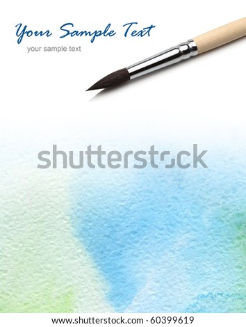 background with artists brush and watercolor painted - stock photo