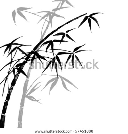 background with bamboo branches - stock photo