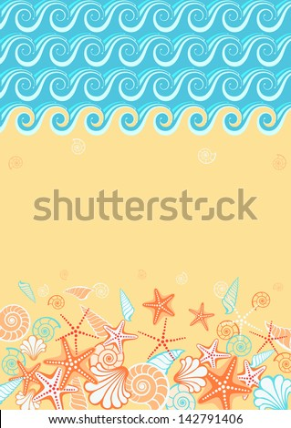 Background with beach and text box. Stylized coastline, sea, golden sand, seashells, starfish. Vintage colorful decorative abstract illustration with concept of seaside resort, vacation, diving - stock photo