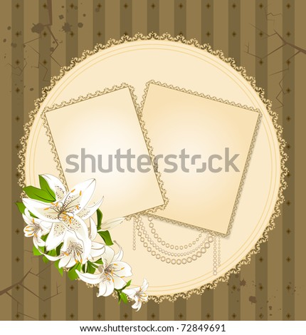 background with beautiful flowers and lace ornaments
