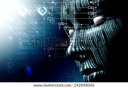 Background with binary code and face. Background of technology and hacker - stock photo