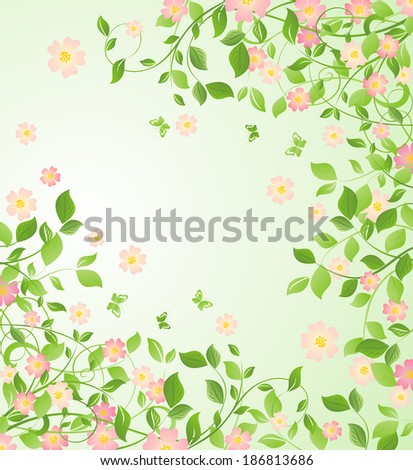 Background with blooming tree - stock photo