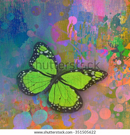 background with butterfly - stock photo