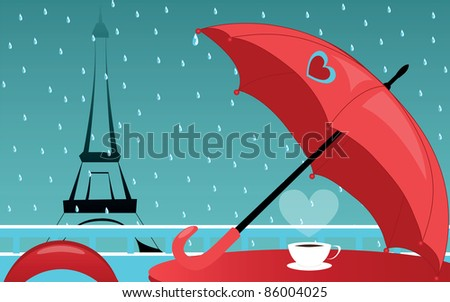 background with cafe de Paris in rain - stock photo