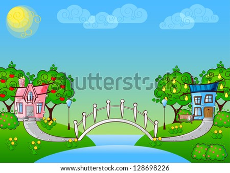 background with cartoon houses in love and a bridge over the river - stock photo