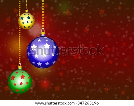 Background with Christmas balls. New year frame illustration.