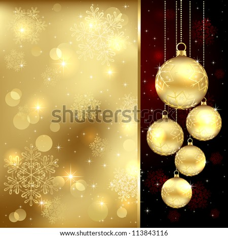 Background with Christmas baubles and snowflakes, illustration. - stock photo