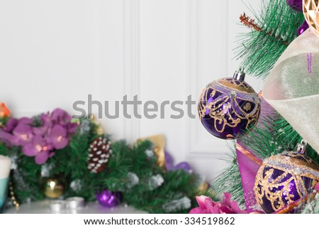 Background with christmas tree and mantel decorated with chistmas garland - stock photo