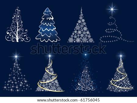 Background with Christmas tree, illustration - stock photo