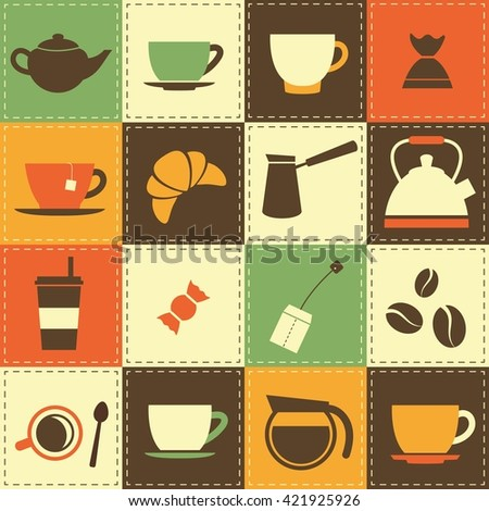 background with coffee and tea cup icons. Raster version - stock photo