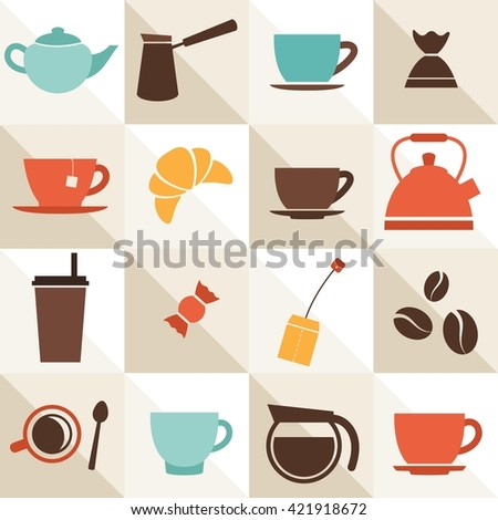 background with coffee and tea cups. Raster version - stock photo