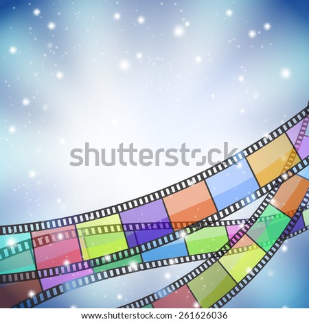 background with color filmstrip and stars - stock photo