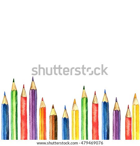 background with color pencils, school stationery, watercolor drawing template with of art supplies, hand drawn illustration