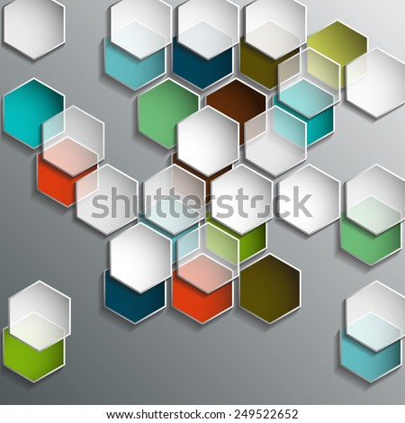 Background with colorful and transparent hexagons. Abstract geometric background for web design. - stock photo