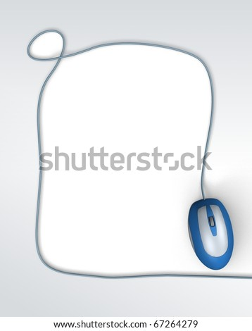 Background with computer mouse. 3d illustration - stock photo