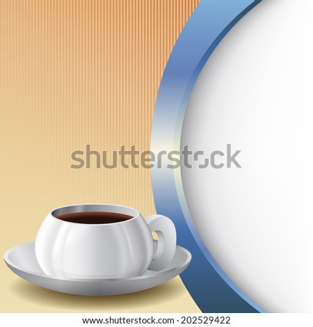 Background with Cup of coffee A cup of coffee and plate in front of abstract background - stock photo