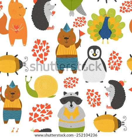 Background with cute animals. Cartoon raccoon, snail, penguin, peafowl; squirrel, bear, beetle and hedgehog isolated on white background with love - stock photo