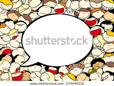 Background with cute kids and speech bubble window for your text (raster version) - stock photo