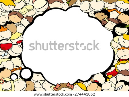 Background with cute kids and thought bubble window for your text (raster version) - stock photo