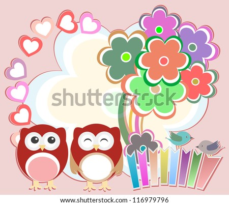 Background with cute owls, heart, flower and birds. raster - stock photo
