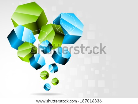 Background with 3d hexagons, raster copy - stock photo