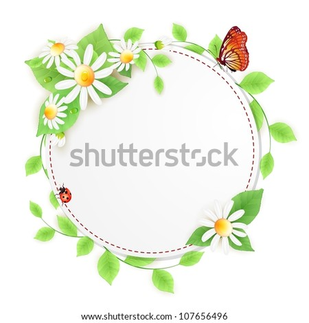 Background with daisies flowers and lady bug