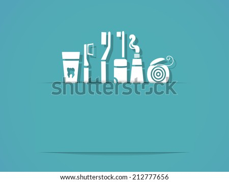 Background with dental care symbols. Tooth brush, tooth paste, dental floss - stock photo