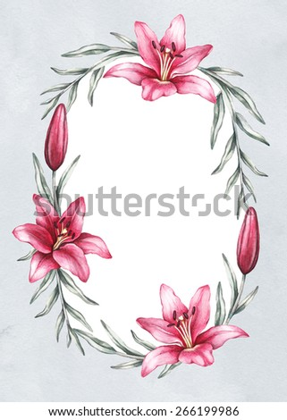Background with drawing of lily flowers. Perfect for greeting card or invitation