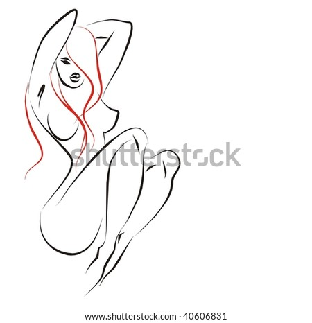 Background with drawing of the beautiful naked woman - stock photo