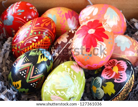 Background with Easter Eggs , or easter eggs closeup - stock photo