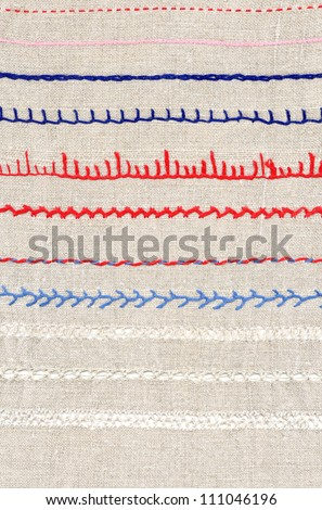 background with embroidery, types of embroidery - stock photo
