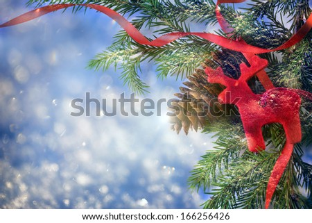 Background with fir, reindeer and cone - stock photo