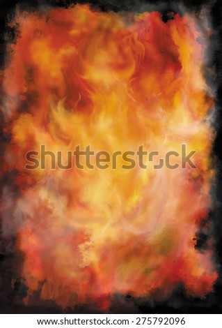 Background with fire and smoke. Illustration colour grunge background with abstract fire and smoke