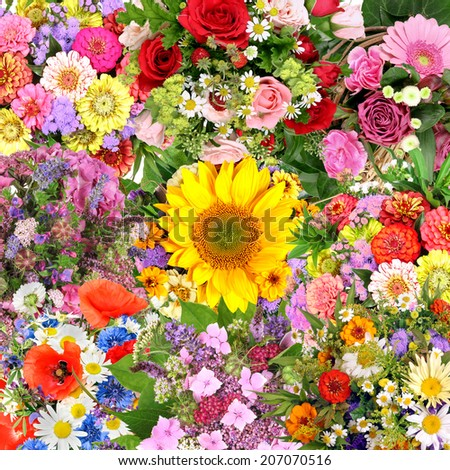 Background with flower bouquets - stock photo