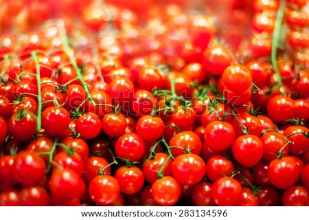 Background with fresh red tomatoes. Ripe cherry tomatoes in market close up.  - stock photo
