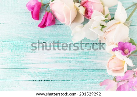 Background with fresh summer flowers in pink colors. - stock photo
