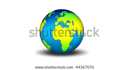 Background with globe on   a white background