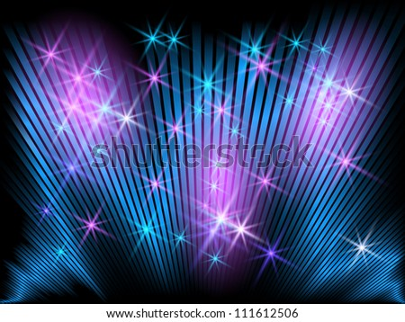 Background with glowing striped and stars. Raster version of vector. - stock photo