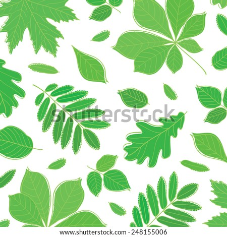 Background with green leaves of different trees. Spring, summer. Sketch, design elements.