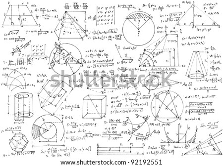 Background with hand written geometry formulas and geometric shapes and figures. - stock photo