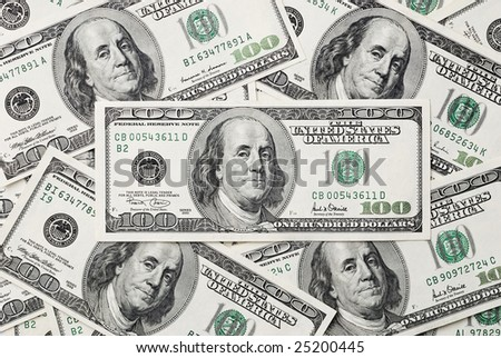 Background with heap of dollars. Can be used as background.