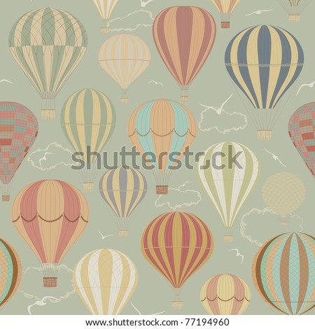 Background with hot air balloons - stock photo