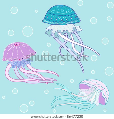 Background with jellyfish, vector pattern, sea colors - stock photo