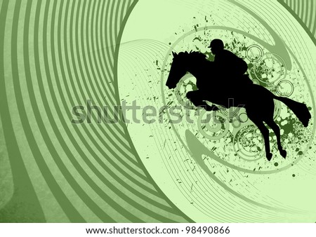 Background with jumping horse (web, leaflet, magazine, poster) - stock photo