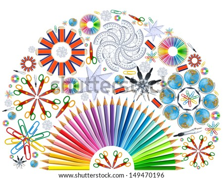 Background with kaleidoscope of school supplies - stock photo